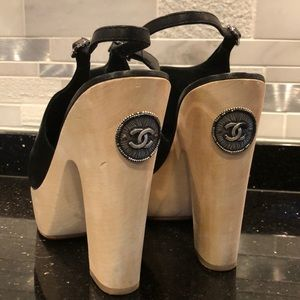CHANEL Black Silver Logo Open-toe Clogs 39.5 9.5